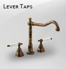 Three Hole Lever Taps English Spout - Metal Lever - Rubbed Bronze / Metal Lever / English Spout