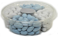 It's A Boy! Jordan Almond Gift Tray (Pastel Blue & White, 4 Section) - Its Delish