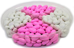 It's A Girl! Jordan Almond Gift Tray (Pastel Pink & White, Large 4 Section) - Its Delish
