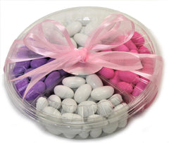 It's A Girl! Jordan Almond Gift Tray (Pastel Pink, White and Lavender, 4 Section) - Its Delish