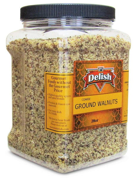 Gourmet Ground Walnuts (Pure Kosher Walnut Meal) by Its Delish - 28 Oz Jumbo Reusable Container