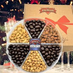 Gourmet Nut & Chocolate Variety 6-Section Gift Tray