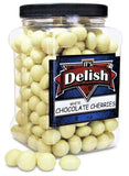 Gourmet White Chocolate Covered Cherries by It's Delish, 3 lbs Jumbo Reusable Container | Premium White Chocolate Coated Dried Cherries - Kosher Dairy