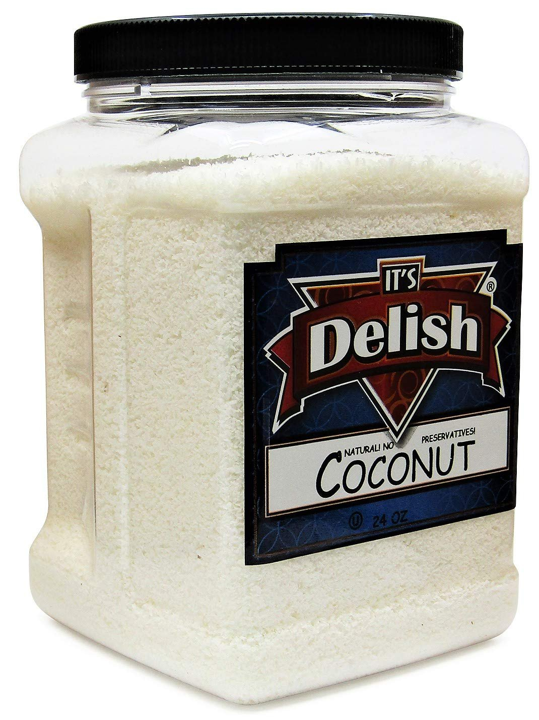 Gourmet Macaroon Ground Coconut by Its Delish - 24 Oz (1.5 LB) Jumbo Container - Raw, Unsweetened, Natural & Gluten-Free Coconut Flour