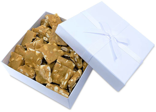 Gourmet Peanut Brittle White Gift Box - by It's Delish | Handmade Old-Fashioned Style | Beautiful & Delicious Square Cut Pieces 16 Oz | Fathers Day Birthday Anniversary Hostess Valentines Day Gift