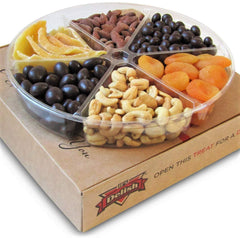 Gourmet Holiday Chocolate, Dried Fruit and Salted Nuts Large Gift Tray 6-Pt by It's Delish - Gift Box for Christmas New Year Events Fathers Mother Day Family Parties Birthday Valentines Anniversary