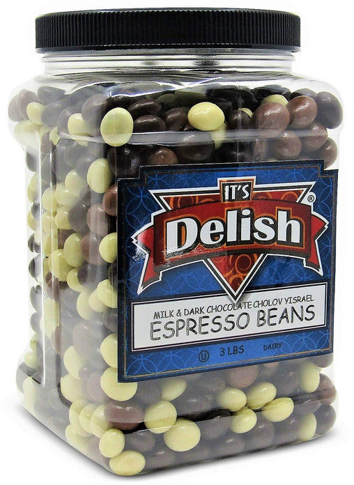 Chocolate Covered Espresso Beans Medley , 3 LBS Jumbo Reusable Container