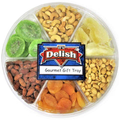 Gourmet Holiday Nuts & Dried Fruit Assortment Gift Tray 6-Pt by It's Delish - Gift Box for Christmas, New Year Events, Fathers Mothers Day, Valentines, Family Parties, Birthday, Anniversary & Sympathy