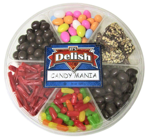 Gourmet Gift Tray 6-Section by Its Delish (Candy Mania with Viennese Crunch)