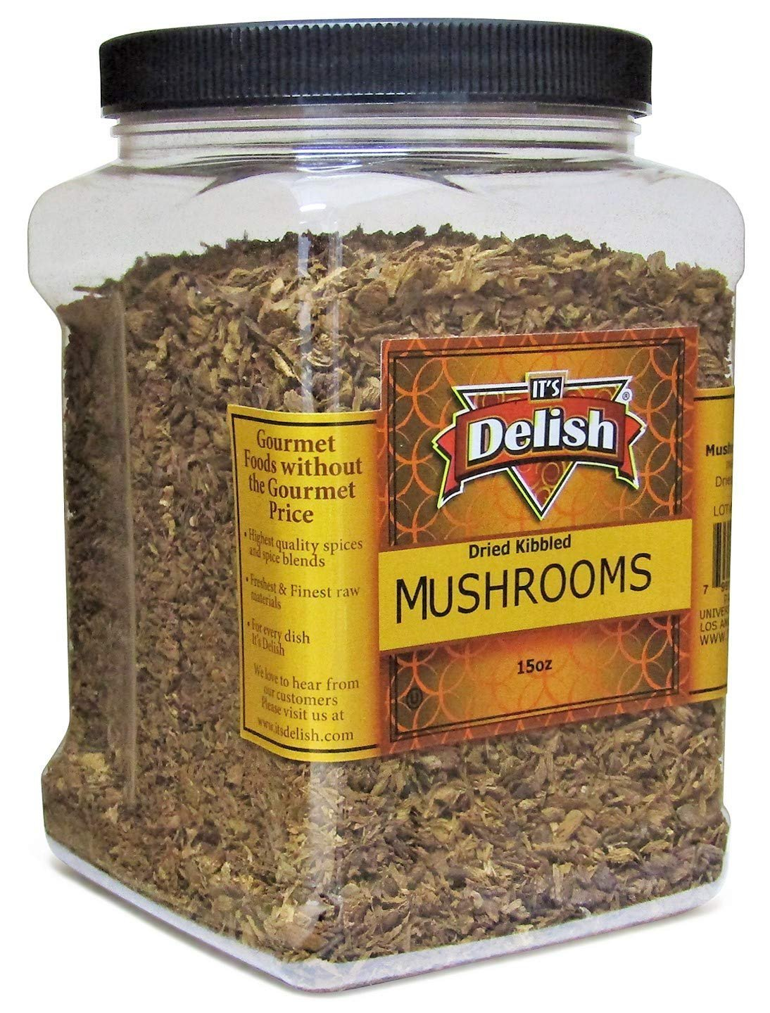 Dried Mushroom Kibble (Boletus Luteus Mushrooms) 15 Oz, Jumbo Container