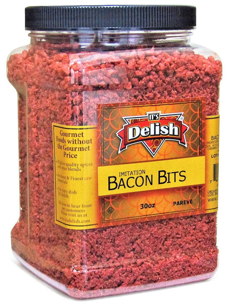 Imitation Bacon Bits by Its Delish, 30 Oz Jumbo Reusable Container, Kosher Parve Vegan