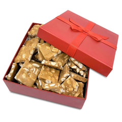 Gourmet Peanut Brittle Red Gift Box - by It's Delish | Handmade Old-Fashioned Style | Beautiful & Delicious Square Cut Pieces 16 Oz | Fathers Day Birthday Anniversary Hostess Valentines Day Gift