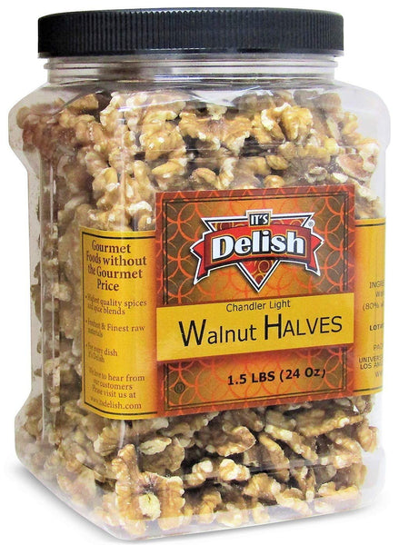 Premium Chandler Raw Walnuts Halves by Its Delish, 24 oz (1.5 lb) Reusable Container | Shelled California Chandler Light Walnut Halves