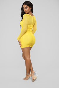 sexy yellow party dress