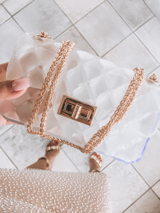 Luxurious petit clear PVC bag with golden hardware