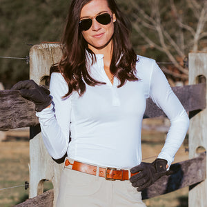 WOMEN'S QUARTER ZIP LONG SLEEVE SHIRT (OPTIONS)