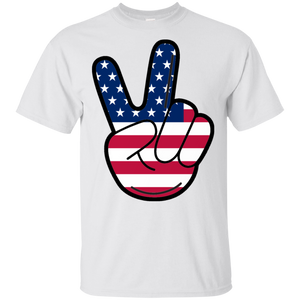 4th of July American Flag Peace Sign Hand US Vintage Shirt