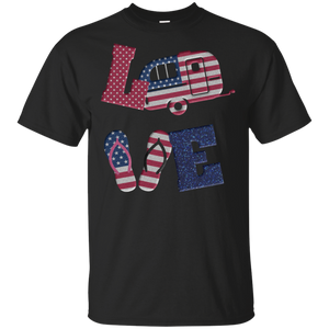 Love camping USA flag 4th of July flip flop camper USA flag Shirt