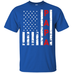 4th of July Shirts Papa USA Flag Tees Men Dad Grandpa Gifts Shirt