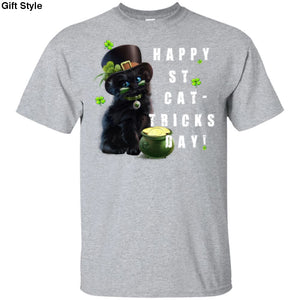 Happy ST CAT-Tricks Day Shirt - G200 Gildan Ultra Cotton T-Shirt / Sport Grey / S - Apparel