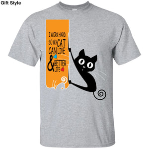 I Work Hard So My Cat Can Live And Better Life Shirt - G200 Gildan Ultra Cotton T-Shirt / Sport Grey / S - Apparel