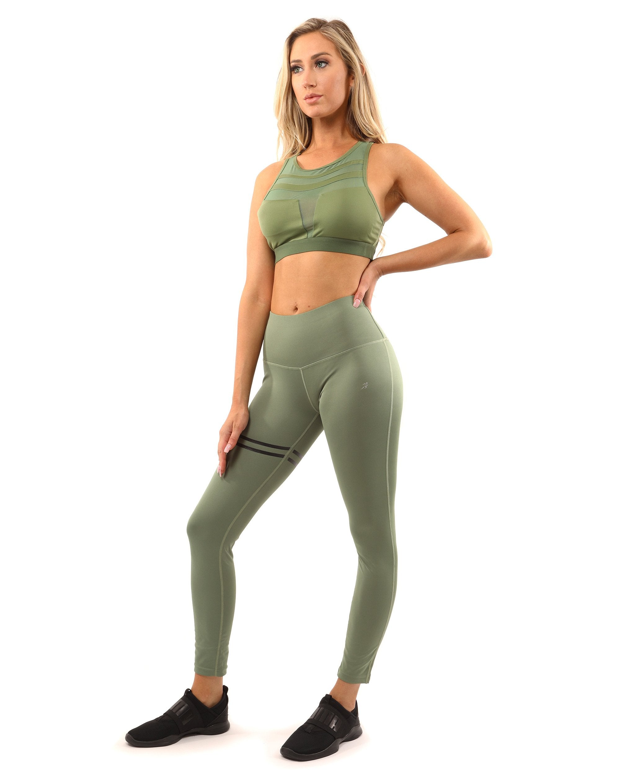 The Athena Set - Leggings & Sports Bra - Olive Green