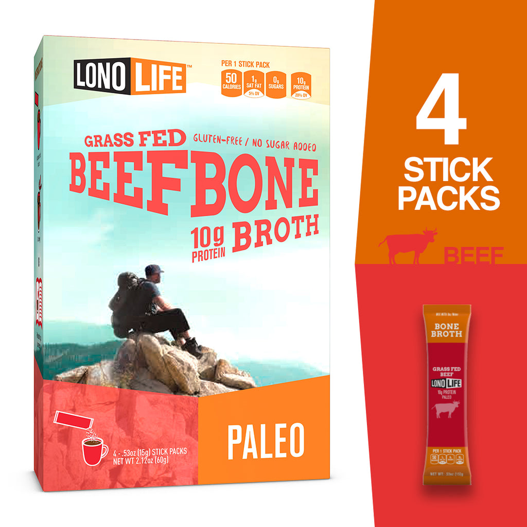 LonoLife Grass-Fed Beef Bone Broth Powder with 10g Protein, Paleo and Keto Friendly
