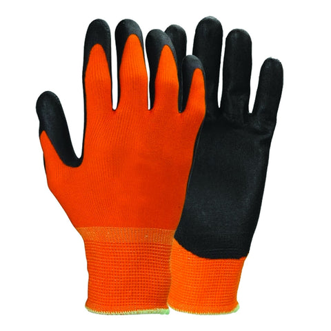 Orange Polyester Work Gloves with Polyurethane Coating