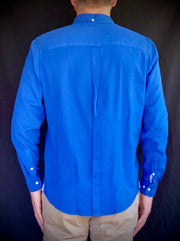 Malindi Casual Oxford Kikoy Shirt in Royal Blue