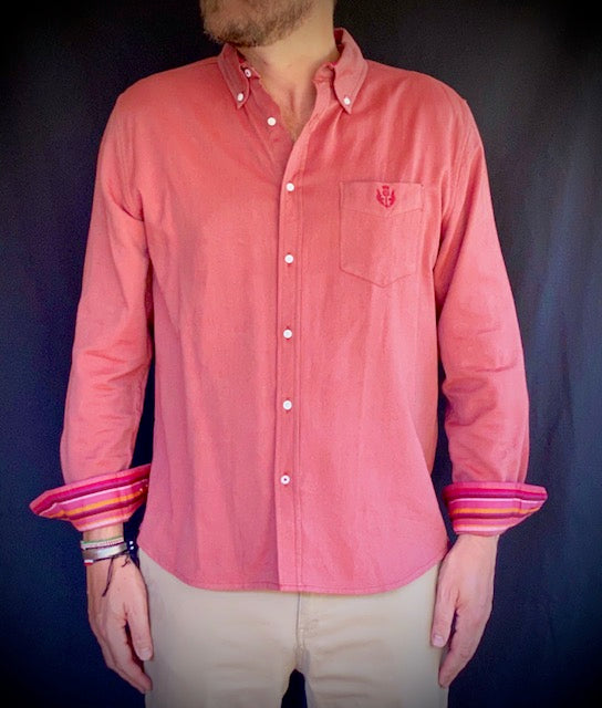 Malindi Casual Oxford Kikoy Shirt in Tree Tomato