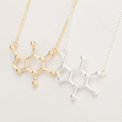 Chemistry Molecule Structure Necklace Small Pendant Long Chain Necklace