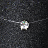 Rhodium Plated Zircon Crystal Pendant Necklace