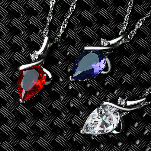 Crystal Rhinestone Drop Silver Color Chain Necklace Pendant