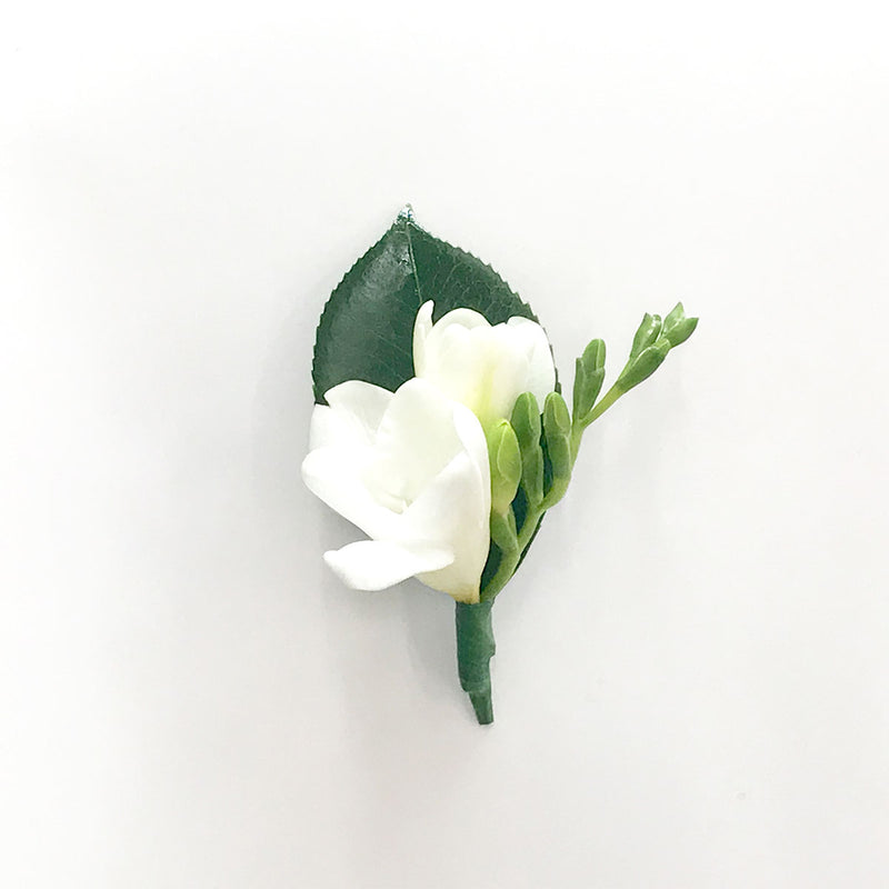 White Freesia Buttonhole - Spring Racing Carnival Flowers
