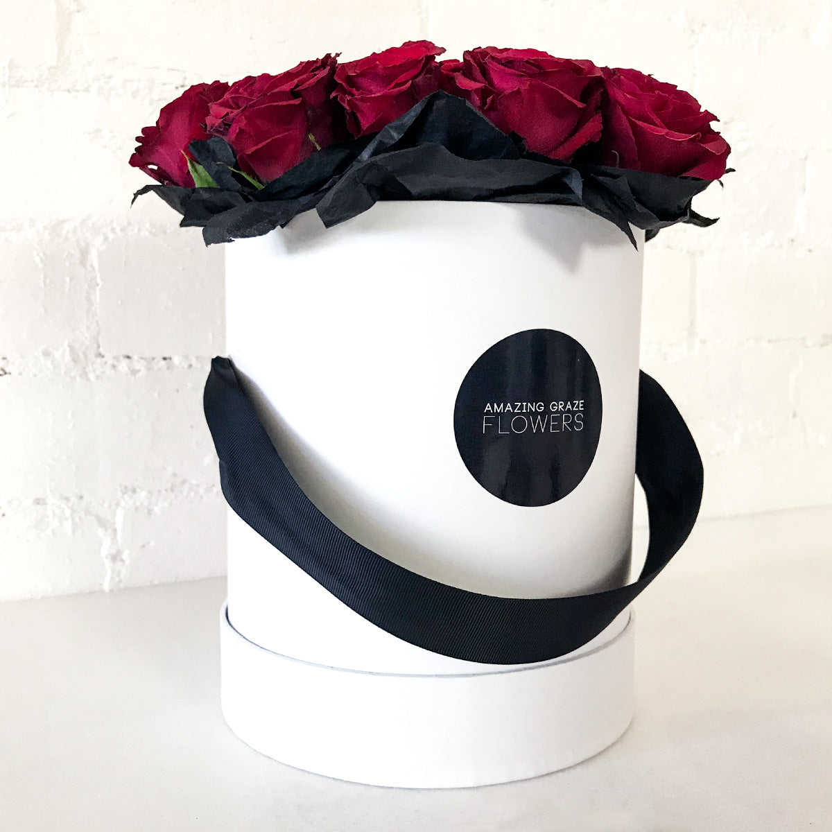 18 Red Roses - Hat Box + Teddy Bear + Champagne