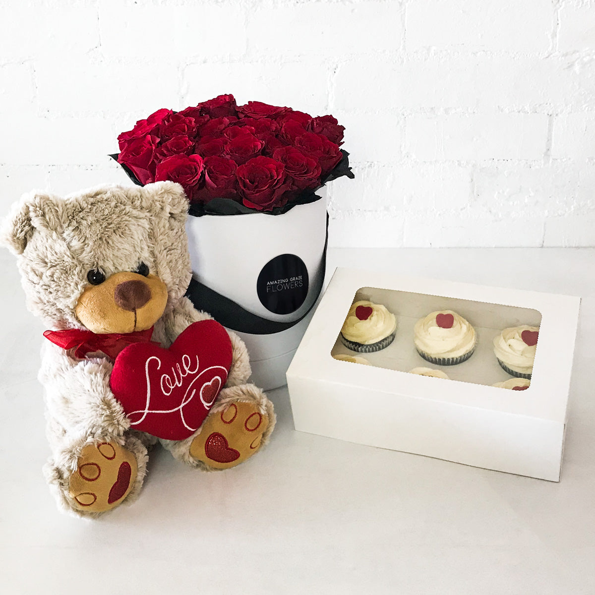 Red Roses - Hat Box + Teddy Bear + Cupcakes