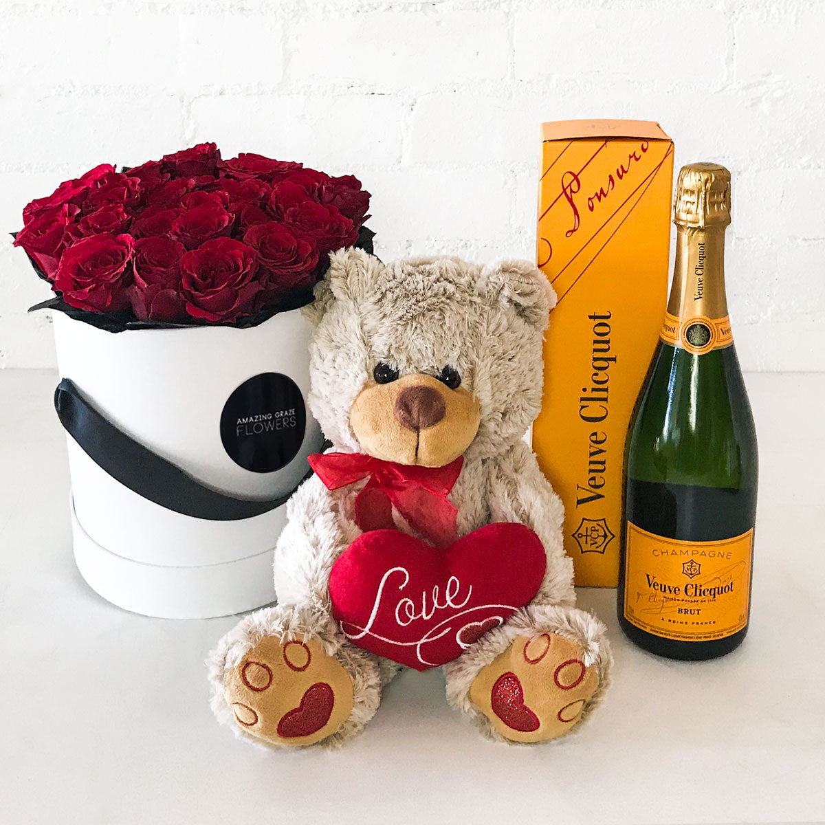 Buy the Red Roses - Hat Box + Teddy Bear + Champagne