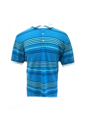 Short Sleeve Turquoise Striped Golf Shirt