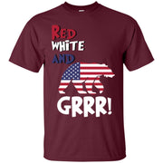 Bear Grrr American Flag Patriotic Red White Men T-shirt