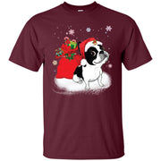 Christmas Boston Terrier Santa Clause Funny Men T-shirt