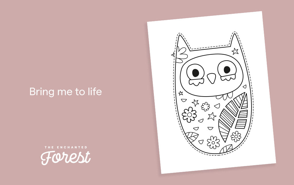 Free owl colour-in sheet - Pea
