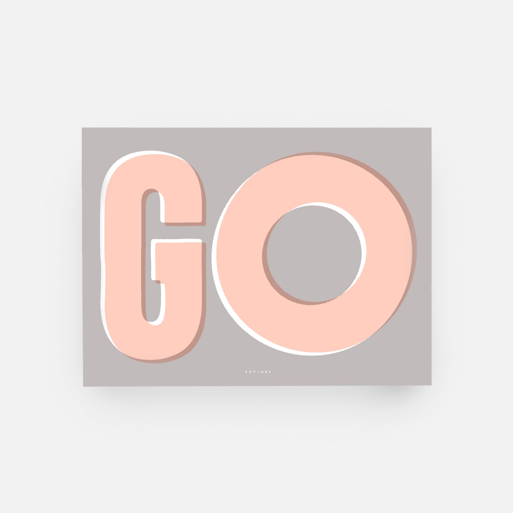 Unframed 'Go explore' wall print in Grey, Peach and White