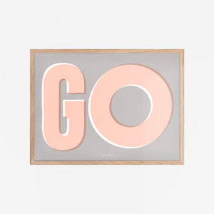 Framed 'Go explore' wall print in Grey, Peach and White