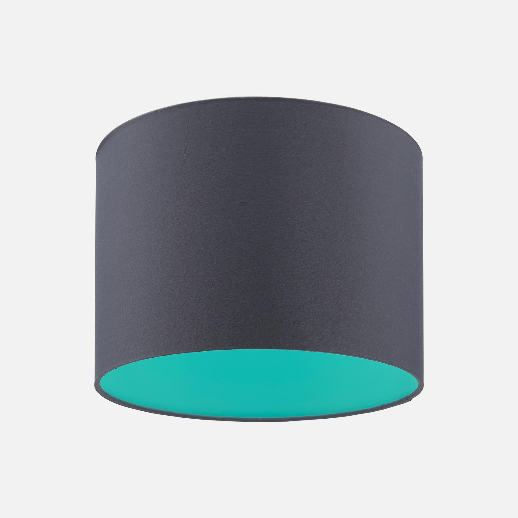 Slate Grey and Mint Green drum lampshade from Pea