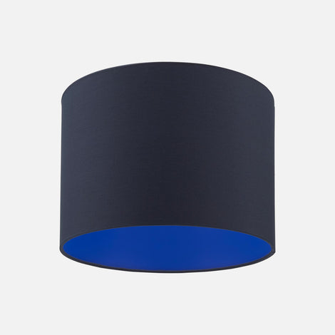 Deep Navy Blue and Electric Blue drum lampshade from Pea