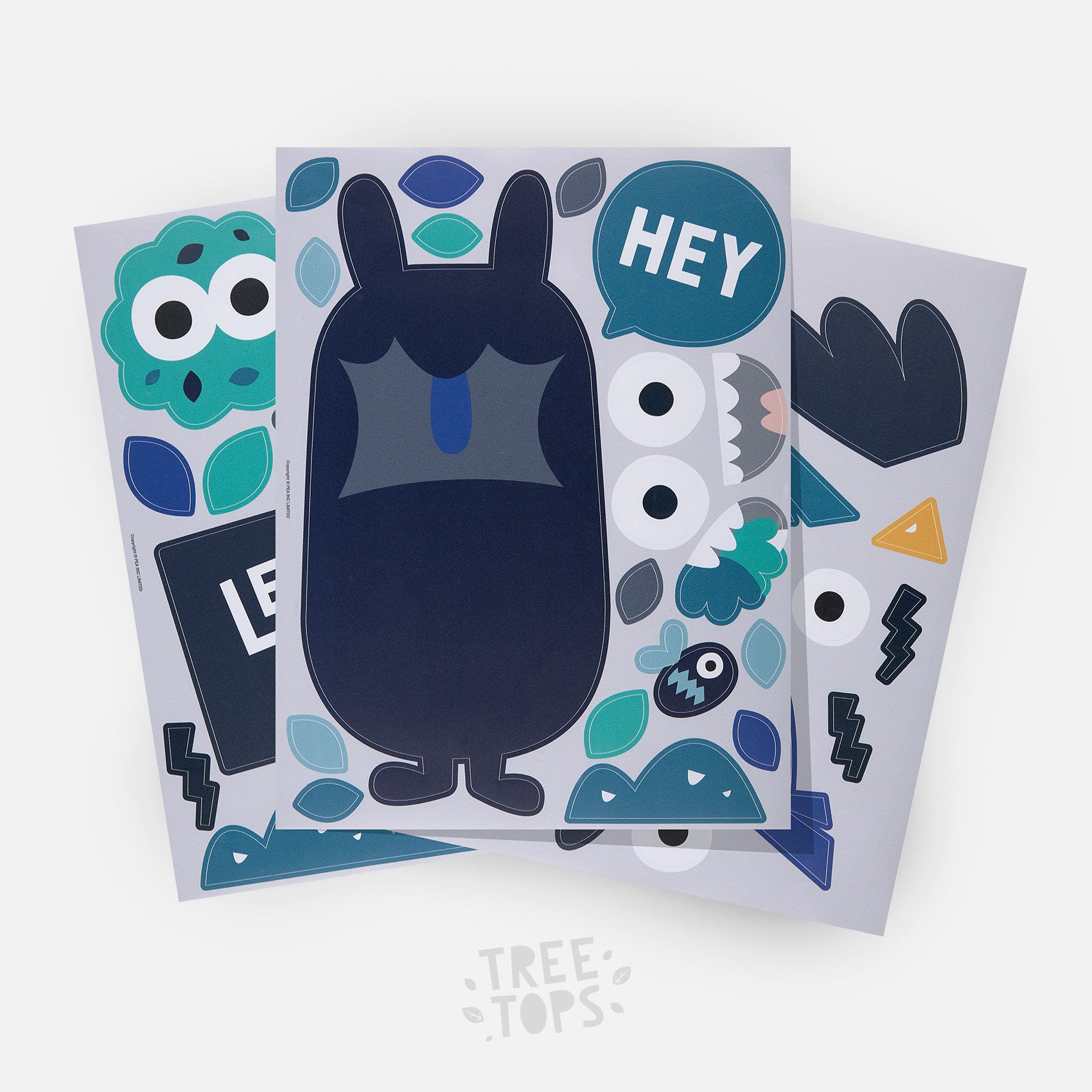 Navy Treeling character at the front of the Treetops wall sticker pack from Pea.