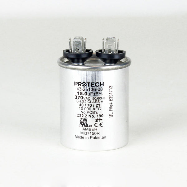 diy-appliance-hvac-parts,PROTECH 43-25136-08 - Capacitor - 15/370 Single Round,Gemaire,Capacitor