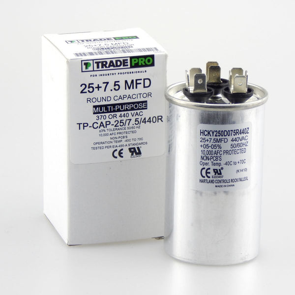 diy-appliance-hvac-parts,TRADEPRO - TP-CAP-25/7.5/440R 25+7.5 MFD 440 Volt Round Run Capacitor,Carrier,Capacitor