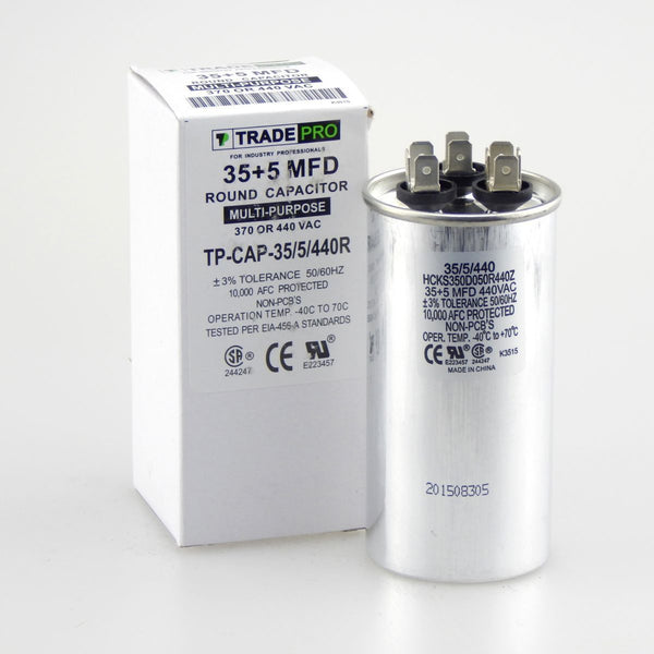 diy-appliance-hvac-parts,TRADEPRO - TP-CAP-35/5/440R 35+5 MFD 440V Round Run Capacitor,Carrier,Capacitor