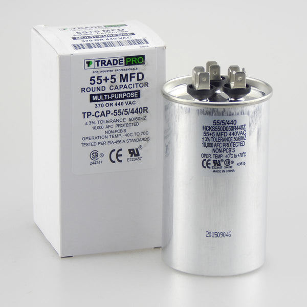 diy-appliance-hvac-parts,TRADEPRO - TP-CAP-55/5/440R 55+5 MFD 440V Round Run Capacitor,Carrier,Capacitor